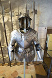 Armour at Oberhofen Castle, Switzerland. A medieval armour at the Oberhofen Castle. Oberhofen is a castle in the municipality of Oberhofen of the Canton of Bern Royalty Free Stock Photo
