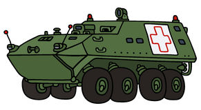 Armoured ambulance vehicle. Hand drawing of a green wheeler armoured ambulance vehicle - not a real model Stock Photo