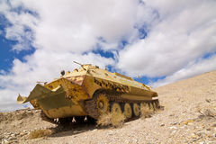 Armoured Carrier. Armored Personnel Carrier abandoned in the Nevada Desert royalty free stock photos
