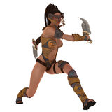 Armoured fantasy female warrior. Rendered illustration of female warrior in skimpy body armour with twin cleavers Royalty Free Stock Photo