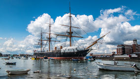 Armoured frigate battleship in Portsmouth harbour Stock Photos