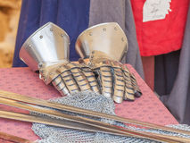 Armoured gauntlets Stock Image