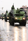 Armoured gun system. Editorial photo: Column of armoured gun system vehicles in the city. Troops review in Prague, Czech Republic. 28th October 2008 Royalty Free Stock Images