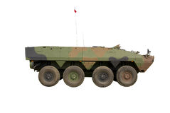 Armoured Infantry Vehicle. APC / AMV vehicle Rosomak isolated on white background Royalty Free Stock Photo