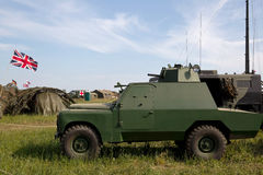 Armoured Land Rover. WESTERNHANGER, UK - JULY 17: An experimental British army armoured Land Rover vehicle is stood on static display for the public to view at Royalty Free Stock Photo