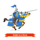 Armoured medieval knight riding on a horse. With spear and shield. Flat vector illustration isolated on white background Stock Photo