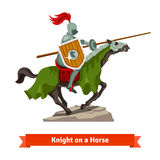 Armoured medieval knight riding on a horse. With spear and shield. Flat vector illustration isolated on white background Stock Photography