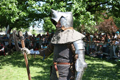 Armoured medieval warrior Royalty Free Stock Photography