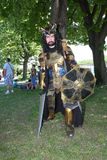 Armoured medieval warrior Stock Image