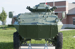 Armoured Personnel carrier. On display for exhibit royalty free stock photos