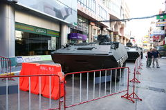 Armoured personnel carriers on Thaniya road. Armoured personnel carriers (APC) on Thaniya road, silom, 2 days after the violent clashes between the thai army and Royalty Free Stock Image