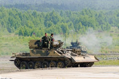 Armoured recovery vehicle BREM-1M in action Royalty Free Stock Image