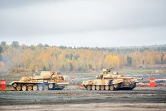 Armoured recovery vehicle BREM-1M in action Royalty Free Stock Images