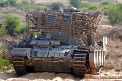 Armoured recovery vehicle. NORTH GAZA STRIP, ISR -  AUG 04:IDF M88A1 Recovery Vehicle on July 06 2006.It's armoured fighting vehicle used to repair battle - or Royalty Free Stock Photos