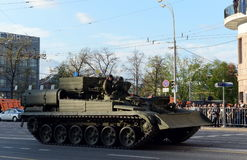 Armoured repair and recovery vehicle BREM-1 during the preparation for the Victory day parade in Moscow. Royalty Free Stock Image