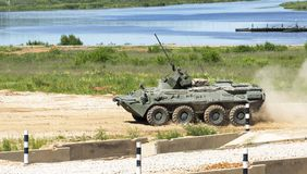 Armoured troop-carrier. The modern military equipment. Outdoor Stock Image
