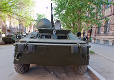 Armoured troop-carrier wheeled. Russian armoured troop-carrier wheeled Royalty Free Stock Photography