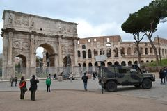 Armoured vehicle Colosseum Rome Italy stock photo