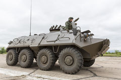 Armoured vehicle for infantry combat. Stryker. Sofia, Bulgaria - May 4, 2016: Soldiers from the Bulgarian army are preparing for a parade for Army's day in an Royalty Free Stock Images
