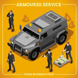 Armoured 02 Vehicle Isometric. Armoured Service Heavy Armored Vehicle and Security Detail Body Guard. NEW bright palette 3D Flat Vector Isometric Set Royalty Free Stock Image