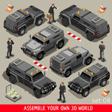 Armoured 01 Vehicle Isometric. Armoured Service Heavy Armored Vehicle and Security Detail Body Guard. NEW bright palette 3D Flat Vector Isometric Set Stock Photography