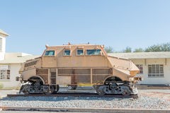 Armoured vehicle on rails at the railway station in Windhoek. WINDHOEK, NAMIBIA - JUNE 17, 2017: An armoured vehicle on rails on display at the railway station Stock Photo