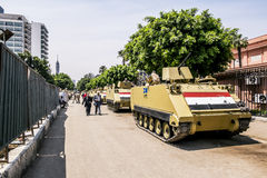 Armoured vehicles and soldiers in front of the National Museum i Royalty Free Stock Images
