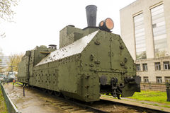 Armoured WWII Russian locomotive Stock Images