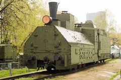Armoured WWII Russian locomotive Front left view. Armoured WWII Russian locomotive class Ov 5067 Front left view Royalty Free Stock Photo