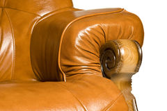 Armrest of Antique leather armchair Stock Photography