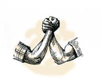 Armrestling, ένα σύμβολο της προσπάθειας Ισχυρά όπλα Στοκ εικόνα με δικαίωμα ελεύθερης χρήσης