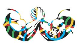 Armrestling. Against the background of the Olympic rings. Vector format Stock Photos