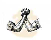 Armrestling ett symbol av ansträngning Starka armar Royaltyfri Bild