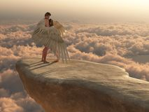 In the arms of an angel. Male angel protectively envelops female companion in his wings on a promontory high above the clouds stock illustration