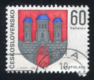Arms of Bratislava. CZECHOSLOVAKIA - CIRCA 1968: stamp printed by Czechoslovakia, shows arms of Bratislava, circa 1968 stock photos