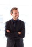 arms businessman folded smiling young Στοκ Εικόνες