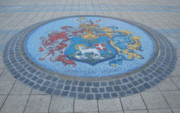 Arms of a city. Debrecen is a city's coat of arm on Kossuth square Stock Images