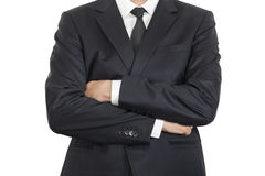 Arms crossed businessman with clipping path stock photos