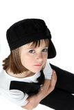 Arms crossed little girl in black hat Royalty Free Stock Photography