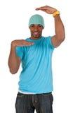 arms den blåa ramgrabben hans görande skjorta t royaltyfri bild