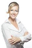 arms den säkra vikta ståenden för affärskvinnan Arkivfoto