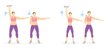Arms exercise for women. vector illustration