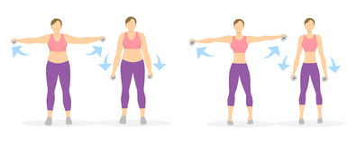 Arms exercise for women. Arms exercise for women on white background. Workout for arms and hands with dumbbels. From fat to skinny Royalty Free Stock Photography