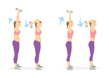 Arms exercise for women. Arms exercise for women on white background. Workout for arms and shoulders with dumbbels. From fat to skinny Royalty Free Stock Image