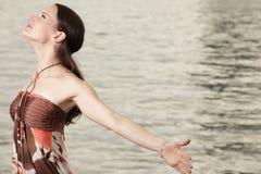 arms extending her profile shot woman Στοκ Εικόνα