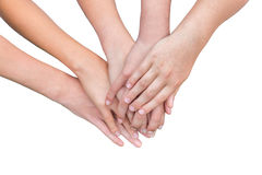 Arms of girls hands on each other Royalty Free Stock Photography
