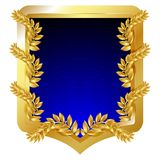 Arms. Golden emblem with laurel branches and blue field, isolated on white. Vector illustration Stock Image