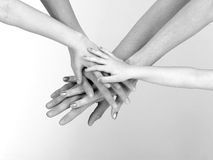 Arms and Hands. Arms extending out to touch each other with white background royalty free stock photo
