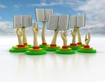 Arms holding books with cloudy sky Stock Photo