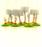 Arms holding books with yellow god beams Royalty Free Stock Images